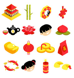 isometric chinese new year celebration party vector image