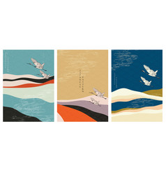 japanese template with crane birds mountain vector image