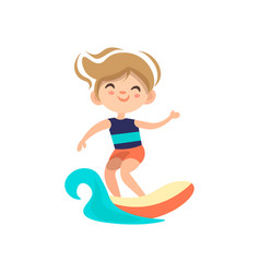 kid surfing around blue ocean wave cartoon vector image