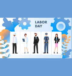 labor day different occupation character stand set vector image