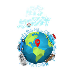 lets journey concept logo with the earth on blur vector image