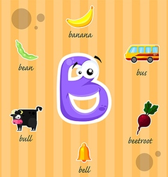 Letter b with words vector