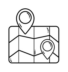 Line geography map with points to location vector