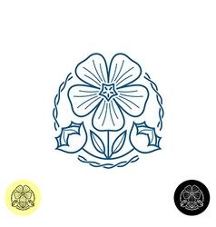 Linen logo outline style a linen flower seed b vector