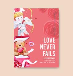 Love poster design with cupid teddy bear vector