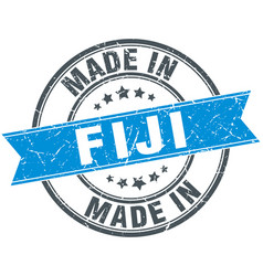 Made in fiji blue round vintage stamp vector