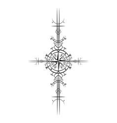 Magic ancient viking art deco wind rose vector