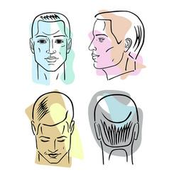 man hairstyle head set vector image