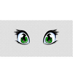 manga anime green eyes for creation cartoon vector image