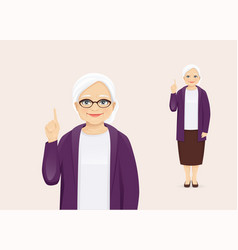 Mature woman pointing up vector