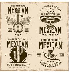 Mexican set four emblems labels badges vector