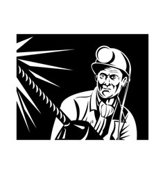 Miner with jack drill front view vector