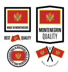 Montenegro quality label set for goods vector