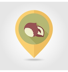 Nut flat pin map icon Fruit vector image