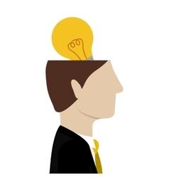 Open head with bulb light vector