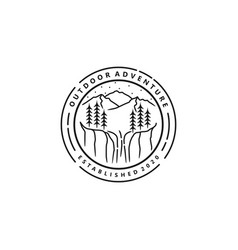 Outdoor mountain nature logo lineart style vector