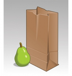 Pear and brown bag vector