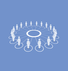 people standing around a circle connecting vector image