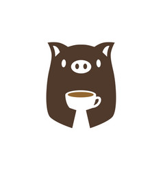 pig coffee cup drink logo icon vector image