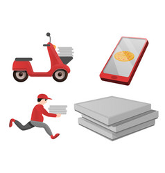 Pizza delivery icons set cartoon style vector