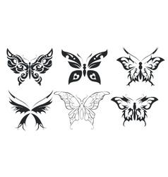 Print set of six stylize butterfly vector