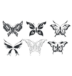 Print set six stylize butterfly vector