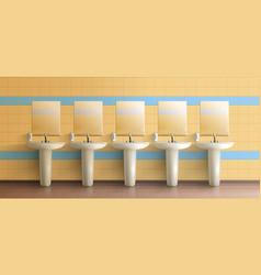 Public toilet interior realistic mock-up vector
