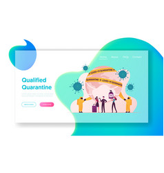 Quarantine landing page template characters vector