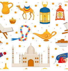ramadan kareem seamless pattern with arabic design vector image
