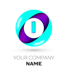 Realistic letter i logo in colorful circle vector