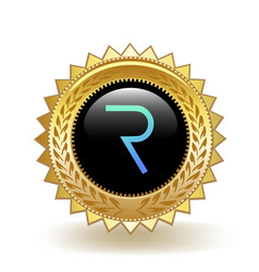Request network cryptocurrency coin gold badge vector