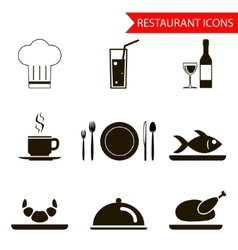 Restaurant sihouette icons set vector