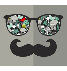 Retro glasses with reflection for hipster vector image