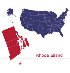 rhode island map counties with usa map vector image