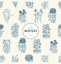 Seamless botanical pattern in vintage style vector