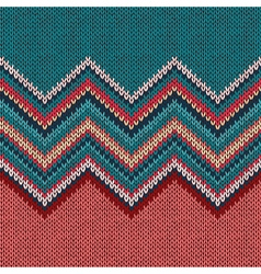 Seamless knitting pattern with wave ornament vector
