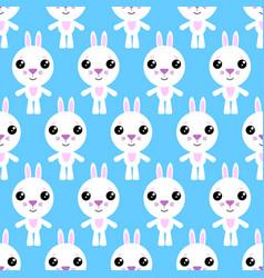 Seamless pattern cartoon bunny on blue vector