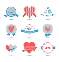 set heart banners ribbons love badges vector image