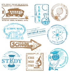Set of school stamps vector