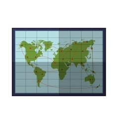 silhouette color with frame map of the world vector image