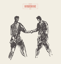 sketch successful business handshake draw a vector image