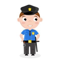 Smiling little boy in policeman uniform vector
