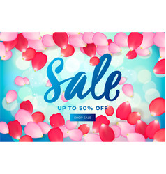 spring sale with pink flying petals web banner or vector image