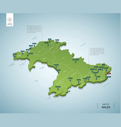 stylized map wales isometric 3d green map vector image