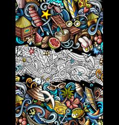 summer beach hand drawn doodle banner cartoon vector image