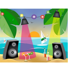 Summer party with on the beach vector