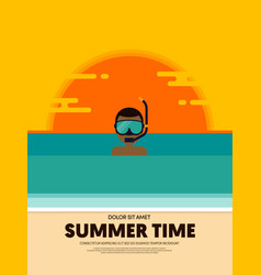 summer time and happy holiday poster template vector image