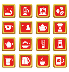 Tea and coffee icons set red vector