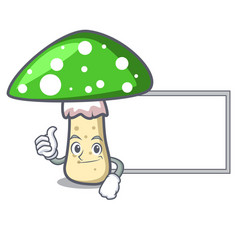 Thumbs up with board green amanita mushroom vector