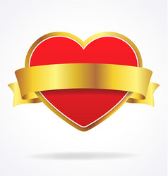 valentines day love heart with gold ribbon vector image